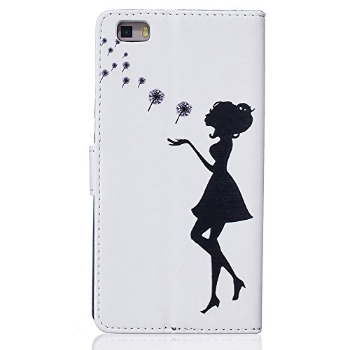Linvei Handytasche for Huawei P9 flip leder handyhülle mit Bunte Printing Muster Wallet Case und TPU Inner Backcover Color 5