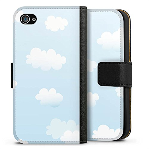 Apple iPhone X Silikon Hülle Case Schutzhülle Wolken Himmel Wolkenmuster Sideflip Tasche schwarz