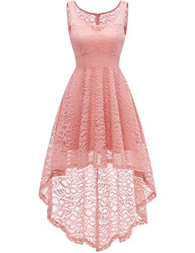 0efc59a51dc6 HomRain Vestito Donna in Pizzo Senza Maniche Alto Basso Elegante Vintage  Abiti da Cerimonia Sera Swing