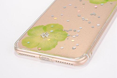 Cover iPhone 7 / 8 - Custodia in Glitter Silicone TPU - Surakey Belle iPhone 7 Custodia Brillantini Fiore Bling Diamante Trasparente Slim Ultra Sottile Gomma Morbida Gel Case Antigraffio Antiurto Fles Verdi