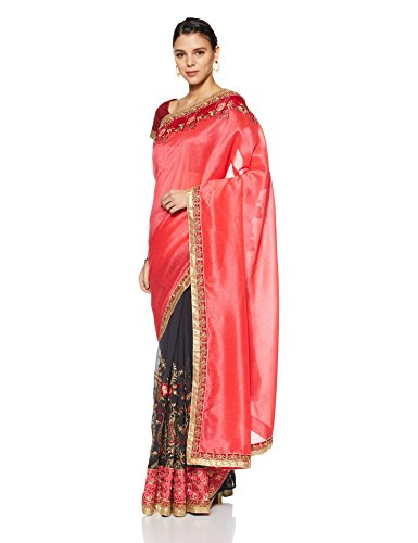 Aalia Faux Georgette Embroidered Saree with Blouse piece (15638!_Fushia and Dark Grey!_One size)