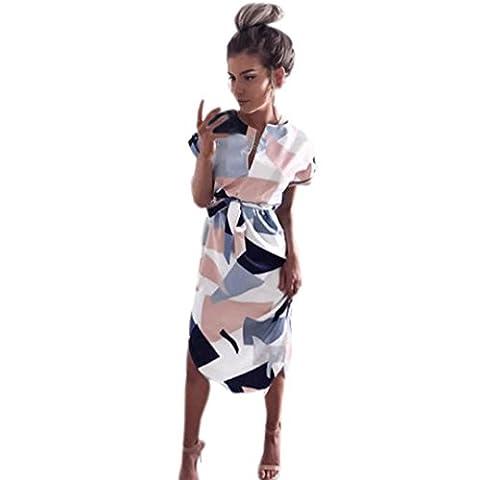 Robes, Kingwo Patchwork Manches Courtes Polyester V-Neck Mi-mollet Sundress Asymétrique (S, Rose)