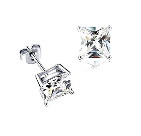Akki Schmuck 925 Silber Ohrringe Männer Damen Herren Ohrstecker mm Quadrat Stein viereckige Ohrringe Ronaldo Style (Ohrringe Männer Echt Silber)