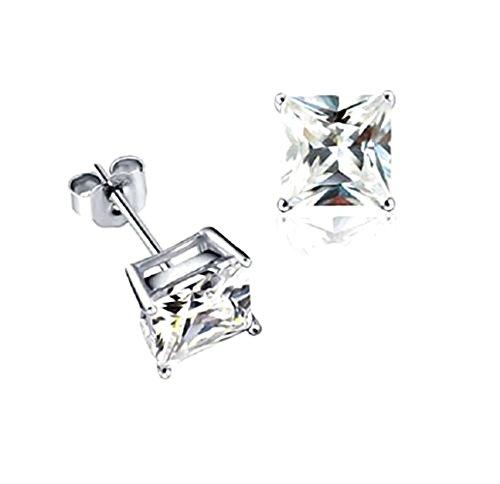 Akki Schmuck 925 Silber Ohrringe Männer Damen Herren Ohrstecker mm Quadrat Stein viereckige Ohrringe Ronaldo Style 12mm
