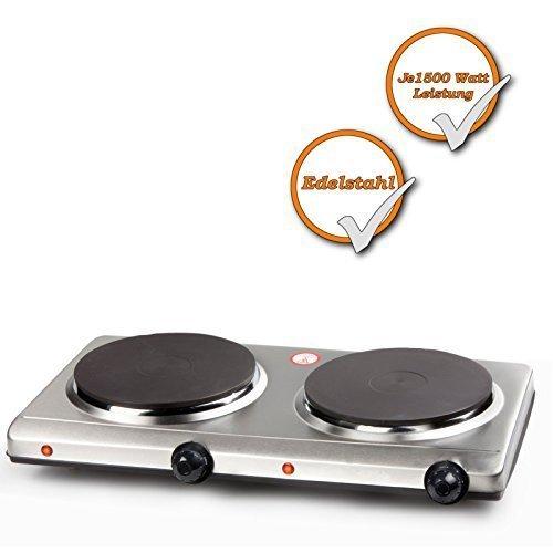 Edelstahl Doppel-Kochplatte, starke 3000Watt, elektrisches 2 Platten Kochfeld, 6 Heizstufen -
