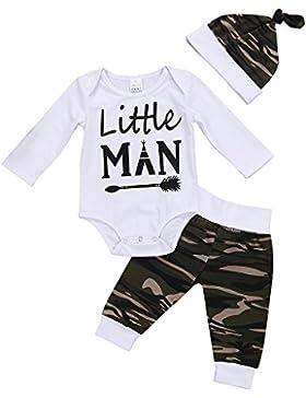 Romper Baby Kind Neugeboren 3pcs Kleidung Set Shirt Hosen Hut Weiße und Camouflage
