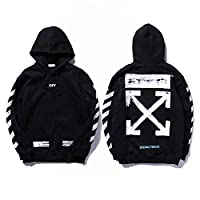 off-white Black Round Neck Hoodies For Unisex