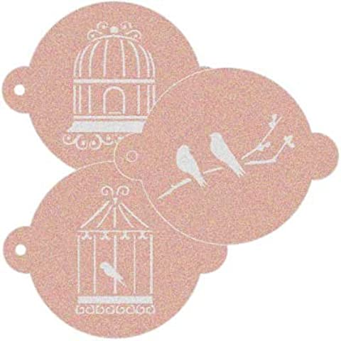 Stencil Reposteria Kit Vintage 001 Jaula Pajaros. Medidas aproximadas: Medida exterior del stencil: 11,5 x 9 cm Medida del diseño:6,5 x 5,2 cm Medida de la figura 1: 7 x 4,3 cm Medida de la figura 2: 4 x 6,5 cm