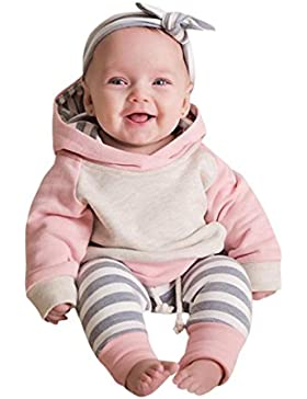 QinMM Baby Junge Mädchen Kleidung Stellte Hoodie Tops + Pants + Stirnband Outfits 3pcs