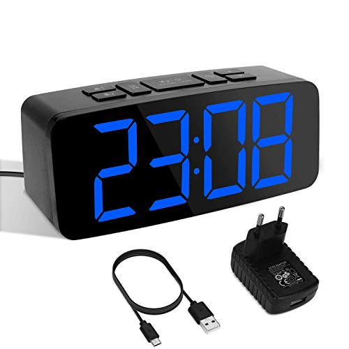 Yissvic Digital Wecker Uhr Tischuhr 12/24H Dual Alarm Easy Snooze 6 Einstellbare Helligkeit mit Adapter (Verpackung MEHRWEG)