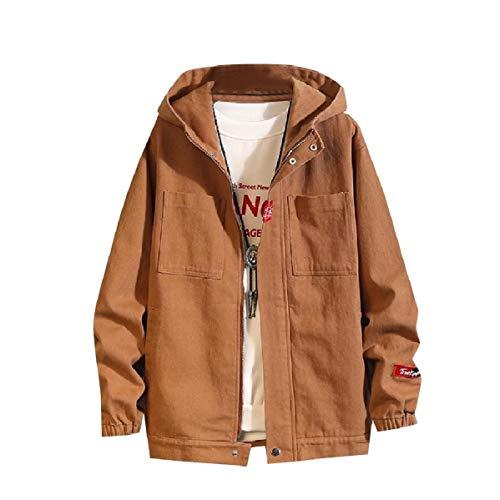 CuteRose Mens Casual Fall Winter Baggy PEA Coat Big Pockets Outwear Jacket Brown 3XL