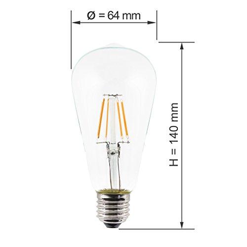 SEBSON Hängelampe ohne Schirm, Lampenfassung mit Textilkabel, inkl. E27 LED Edison Lampe 4W 2300K, 150cm lang, rot - 6