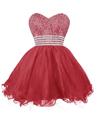 Dresstells, Robe de bal Robe de soirée de cocktail courte en tulle bustier en cœur emperlée Rouge Foncé