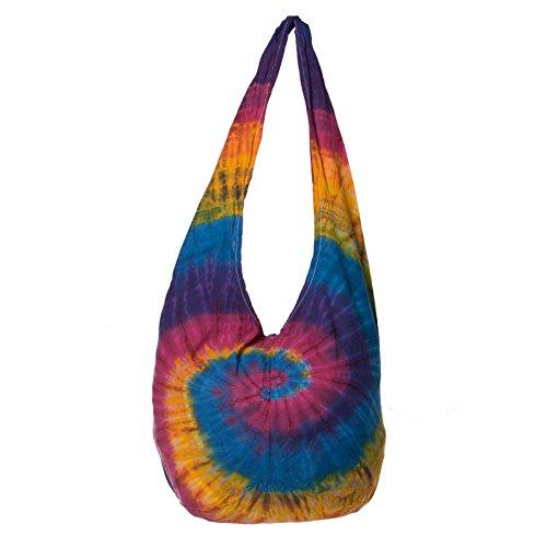 Bunte Tie Dye Batik Schultertasche Hippie Goa Umhängetasche von Kunst und Magie Mehrfarbig