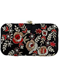 Embroidery Clutch - Phantom, Aurora Red And Snow White Color - Handcrafted Clutch, Handembroidered Clutch, Partywear...