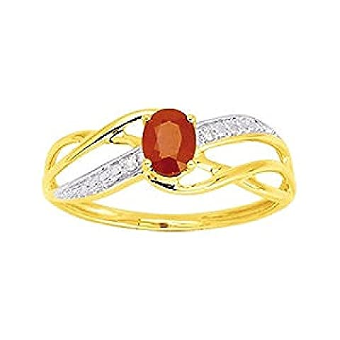 So Chic Bijoux © Bague Anneau Femme Vagues Ciselées Solitaire Rubis Rouge & Diamants 0,01 ct Or Jaune 375/000 (9 carats) - Taille