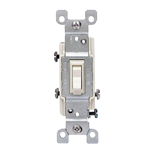 Leviton 1453-2T 15 Amp, 120 Volt, Toggle Framed 3-Way AC Quiet Switch, Residential Grade, Grounding, Quickwire Push-In & Side Wired, Light Almond by Leviton (Wire 3-way Switch Light)