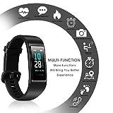CHEREEKI Fitness Armband, Wasserdicht IP68 Fitness Tracker mit Pulsmesser Farbbildschirm Fitness Uhr Aktivitätstracker Schrittzähler Uhr Smartwatch SMS Anruf Beachten für Damen Herren (Schwarz) - 2