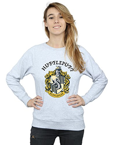 Harry Potter Damen Hufflepuff Crest Sweatshirt Heather Grey Small Crest Pullover Sweatshirts