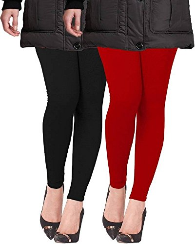 Lux Lyra Winter Leggings combo of Black and Red