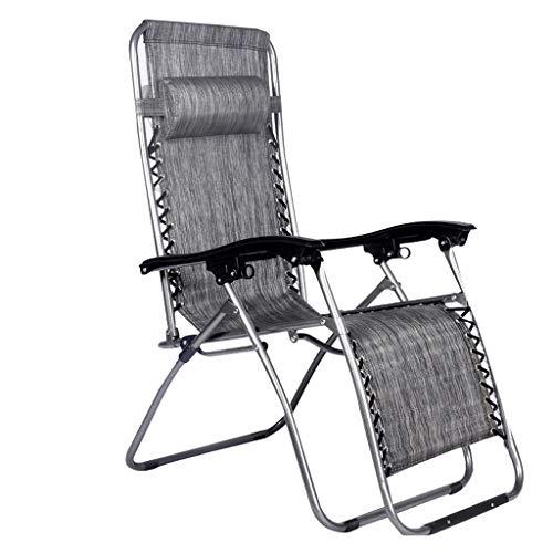 XD Lounge chair Chaises Longues De Pliage RéGlables ExtéRieures De Chaise De Gravité ZéRo avec Le Dur Accoudoirs MatéRiel De Teslin pour La Piscine De Camping Soutient La 550lbs - Gris