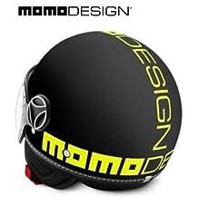 Casco Momo Design Fighter. Modelo:- 2016, color negro Frost y amarillo fluorescente