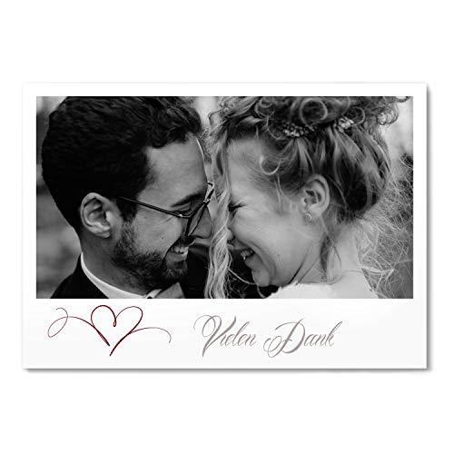 greetinks 30 x Dankeskarten zur Hochzeit 'Herz' in Rot | Personalisierte Danksagungskarten zum selbst gestalten | 30 Stück Danksagung Karten