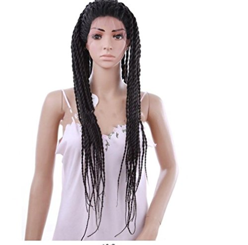 HAPPYMOOD Volle Dreadlocks Afroamerikaner Perücke Cornrow Lange Lockig Rolls Twist Zöpfe Synthetik Perücken Für Schwarze Frauen (Kinder Machen Schrecklich)