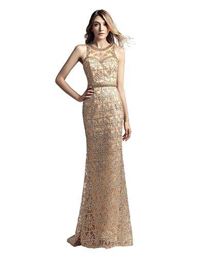 Sarahbridal Damen perspektive Lace Bodenlang Abendkleider Ballkleider Abschlusskleider mit Kristall...