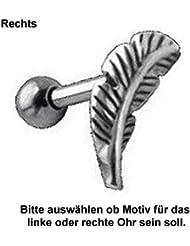 Ohr Piercing Schmuck Feder für Tragus Helix, TIP, Ohrpiercing mit 316L Edelstahl Barbell (Stift) und 925 Sterling Silber Motiv - TIP276