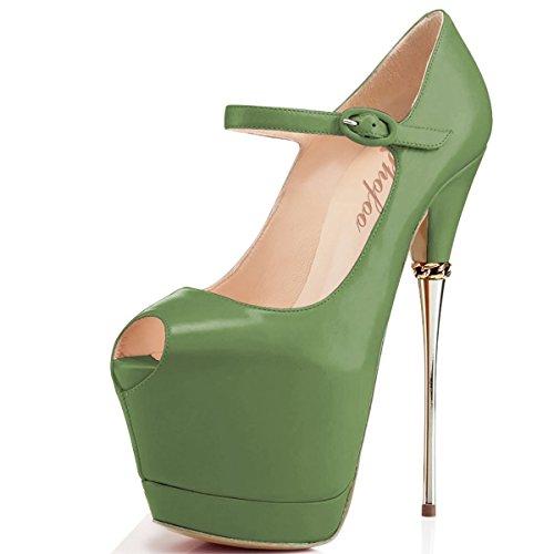 SHOFOO - Femmes - Stiletto - Cuir brillant synthétique - Noir ou Rouge ou Vert - Talon aiguille - Bout rond ouvert Vert