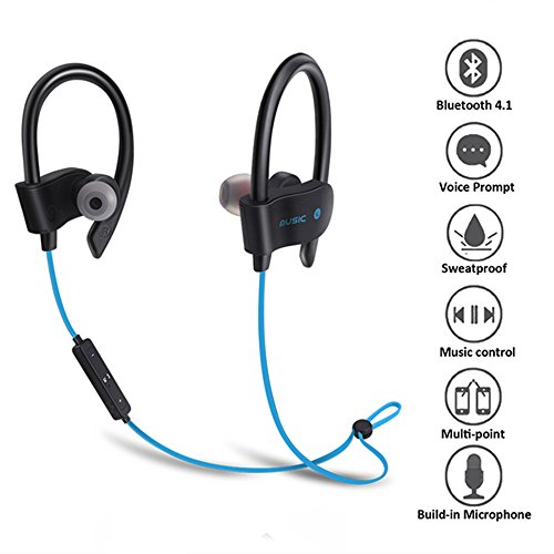 True wireless Kopfhörer, Miya drahtlose Bluetooth 4.1 Sport wasserdichte Kabellose Headset mit Stereo Bass Kopfhörer Freisprechmikrofon iPhone Xiaomi Samsung.