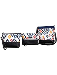Dekor World Cotton Multi Rose Yellow Printed Cross Body Multi Utility Shoulder Bag, Sling Bag, Pouch (Pack Of...