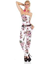 SinneMaXX Damen Bandeau Overall mit Gürtel Jumpsuit Rosen Print Catsuit  Onepiece c827644c87