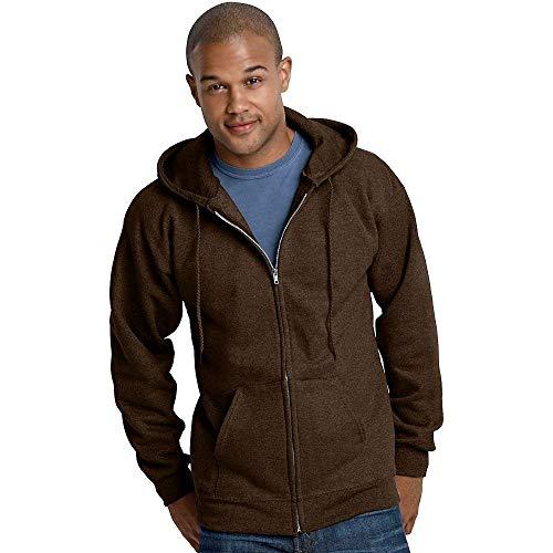 Hanes Ultimate Cotton Full-Zip Fleece Hood 10 Oz Sweatshirt, Dark Chocolate, L -