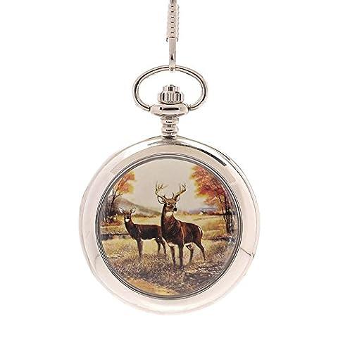 Classic Glatte Full Hunter Deer Taschenuhr mit 36,8cm Kette für Herren Silber (Arabischen Tracht)