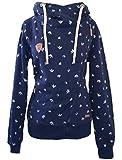 NANTEX Be Cool Damen Hoodie Zip-Hoodie Schwalben Sweatjacke mit schrägem Reißverschluss Marineblau (S)