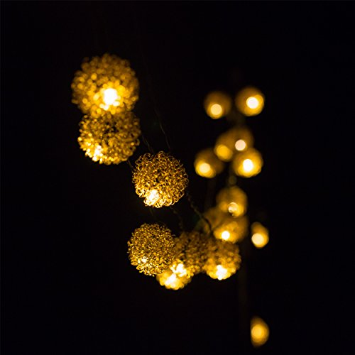 H&D Youngsun® 30er LED Solar Lichterkette Metallkugeln 6,35 Meter Außen Innen Outdoor Garten Warmweiß Metall Pompon Party Fest Deko Weihnachten Hochzeit Beleuchtung
