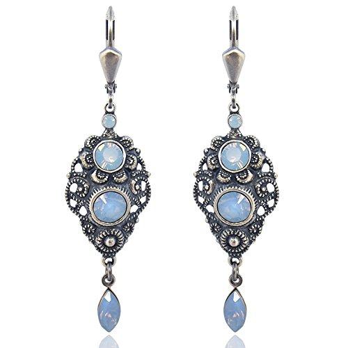 Jugendstil Ohrringe mit Kristallen von Swarovski® Silber Blau NOBEL SCHMUCK