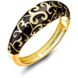 """【Ottimo Regalo】P&M """"fiore notte"""" bracciale donna-cristallo austriaco chiaro-colore oro nero-Diameter:6cm"""