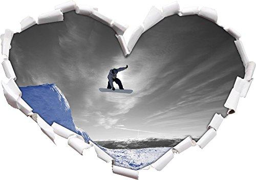 Snowboard jump, nero sport estremi / a forma di cuore bianco in formato sguardo, parete (Estrema Svizzera)