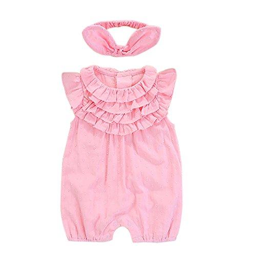 Strampler Overall [80CM] Neugeborene für Kleinkinder Jungen Mädchen Sommer Baby Strampler Kleidung Set Pink Babykleidung(Overall +...