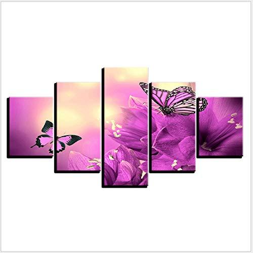 AMDPH Paysage De Papillon Violet Impression sur Toile 5Pcs Image Home Decor Salon Chambre Bureau Murale Cadeau Moderne Décoratif Canapé Fond Tenture Peinture