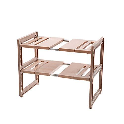 Kitchen furniture - Support de rangement pour rack de four à micro-ondes en plastique sur une étagère de cuisine multicouche au sol WXP (Couleur : Brown)