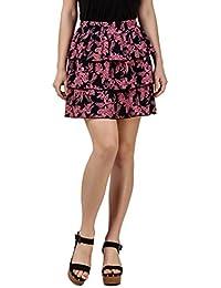 TEXCO Tiered lilec Printed Mini Skirt