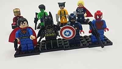 8 Pcs SUPER HEROES MINI FIGURES FULL SET OF 8 MINI ACTION FIGURES BUILDING TOY GIFT SUPERMAN CAPTAIN AMERICA WOLVERINE BATMAN IRONMAN THOR HULK SPIDERMAN