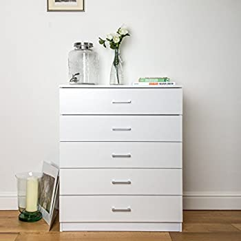 Superior Home Treats White Chest Of 5 Drawers Bedroom Furniture. Anti Bowing Clothes  Organiser For Any Room.