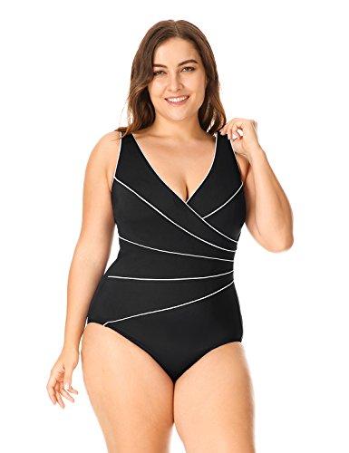 Delimira Damen Große Größen Schwimmanzug - Schale Einteiler Slim Badeanzug Schwarz 42