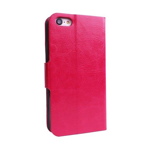 PDNcase iPhone 5C Hülle Premium Ledertasche Bookstyle Schutzhülle Case Tasche mit Standfunktion Compatible für iPhone 5C Color Rose Rose