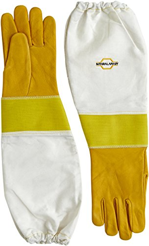 Natural Apiary® BEEKEEPING GLOVES - COWHIDE - STING PROOF CUFFS - MEDIUM - Soft & Durable Leather - Long Thick Sleeves 1